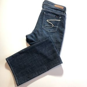 12 SEVEN 7 Flare Dark Wash Blue Jean Pants Stretch